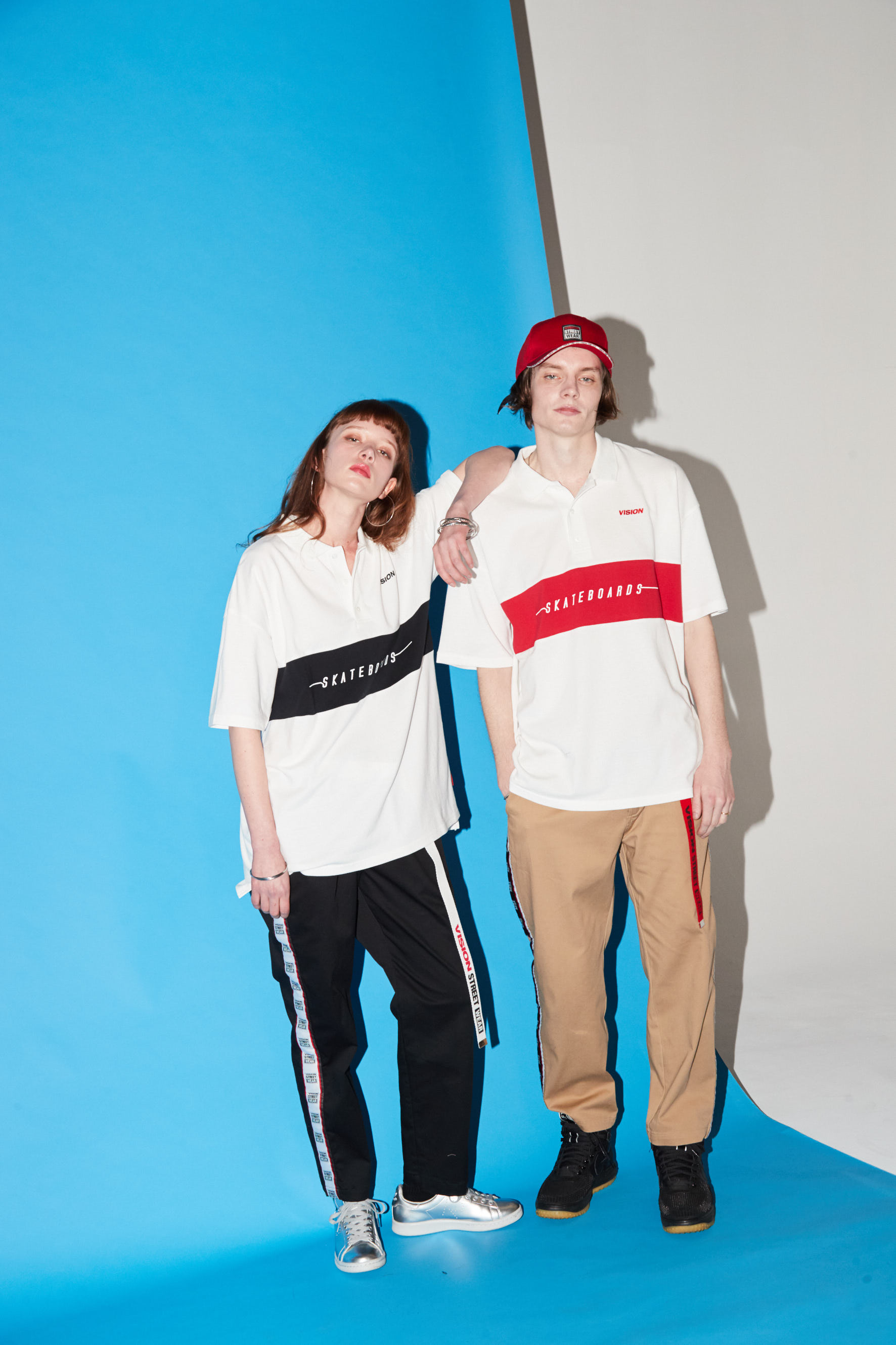 Panel Polo Shirt / Line Logo Pants